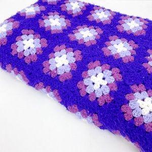 Vintage Square Granny Knitted Blanket